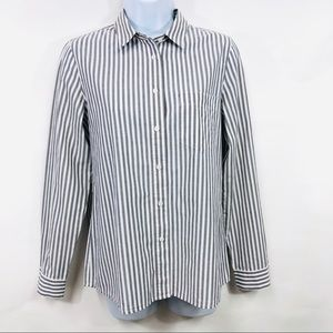 Madewell White/Gray Stripe Button Down Is Boy Fit